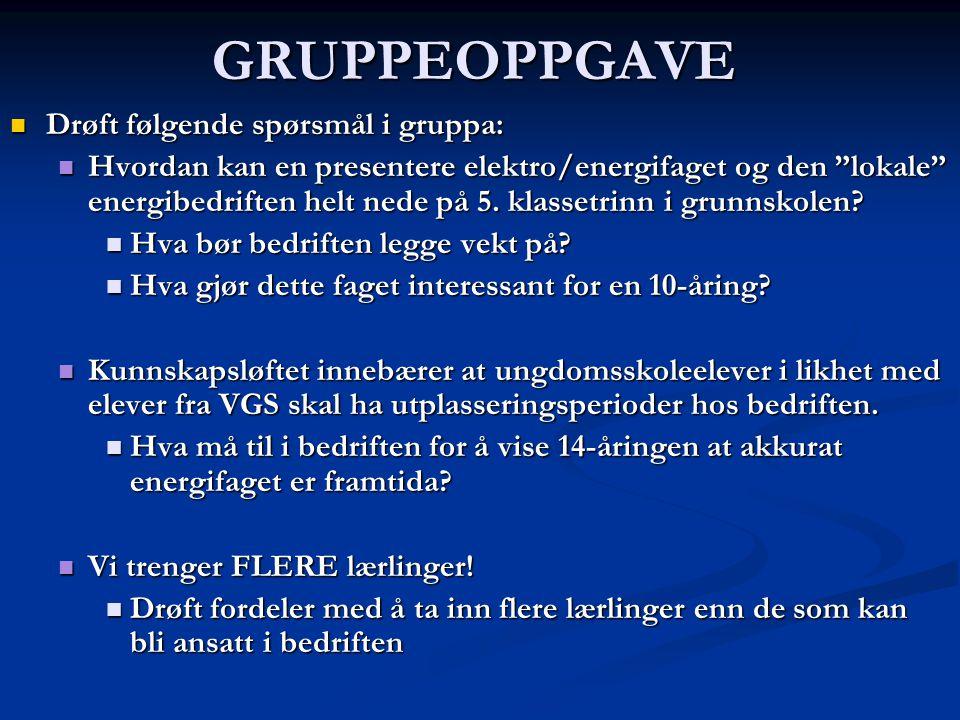 GRUPPEOPPGAVE Drøft følgende spørsmål i gruppa: