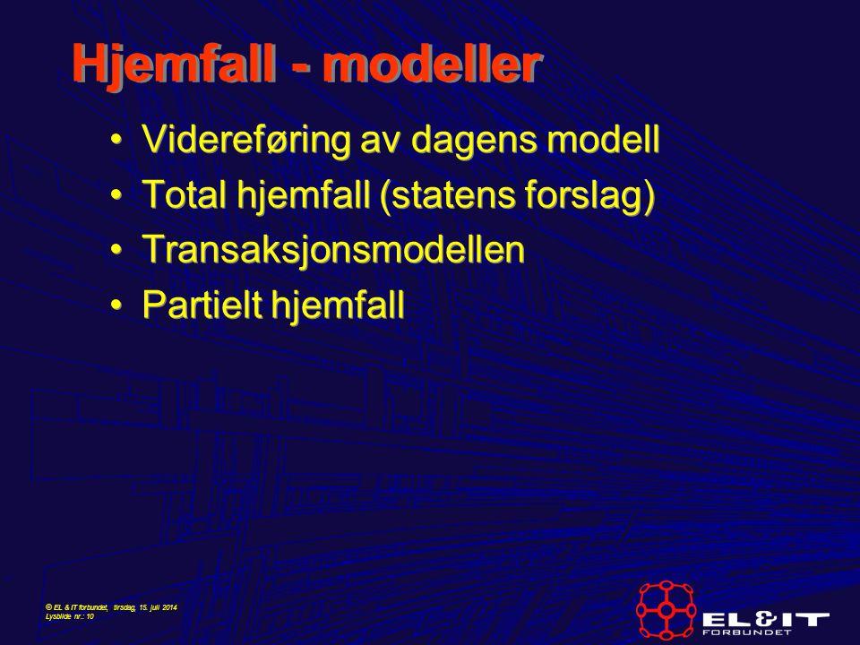 Hjemfall - modeller Videreføring av dagens modell