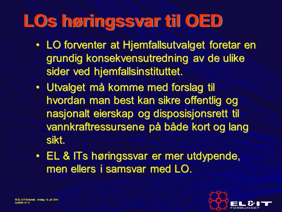 LOs høringssvar til OED