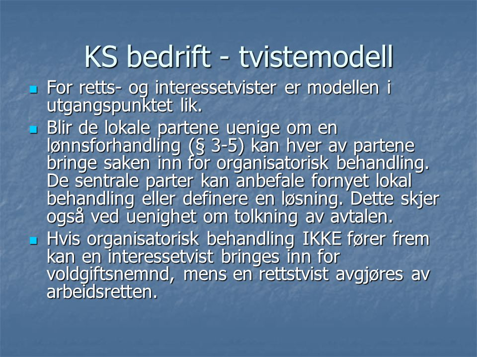 KS bedrift - tvistemodell