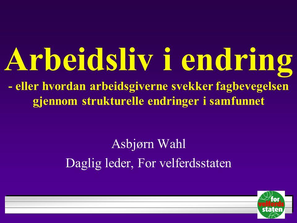 Asbjørn Wahl Daglig leder, For velferdsstaten