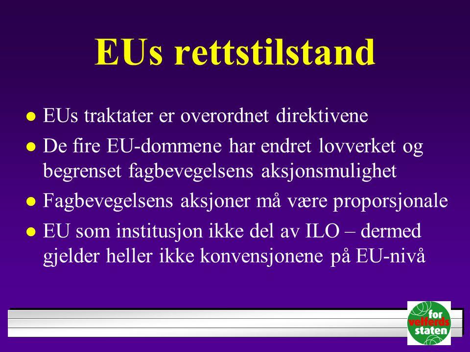 EUs rettstilstand EUs traktater er overordnet direktivene