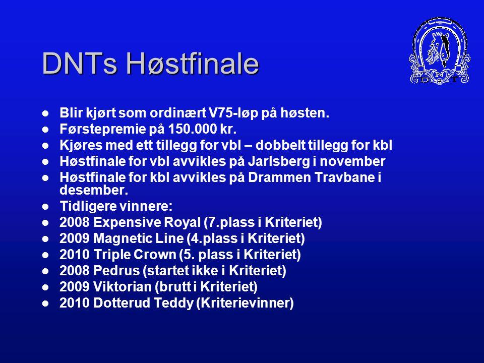 DNTs Høstfinale Blir kjørt som ordinært V75-løp på høsten.