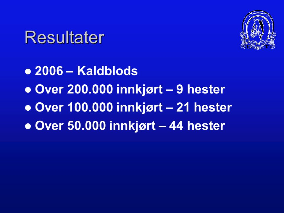 Resultater 2006 – Kaldblods Over 200.000 innkjørt – 9 hester