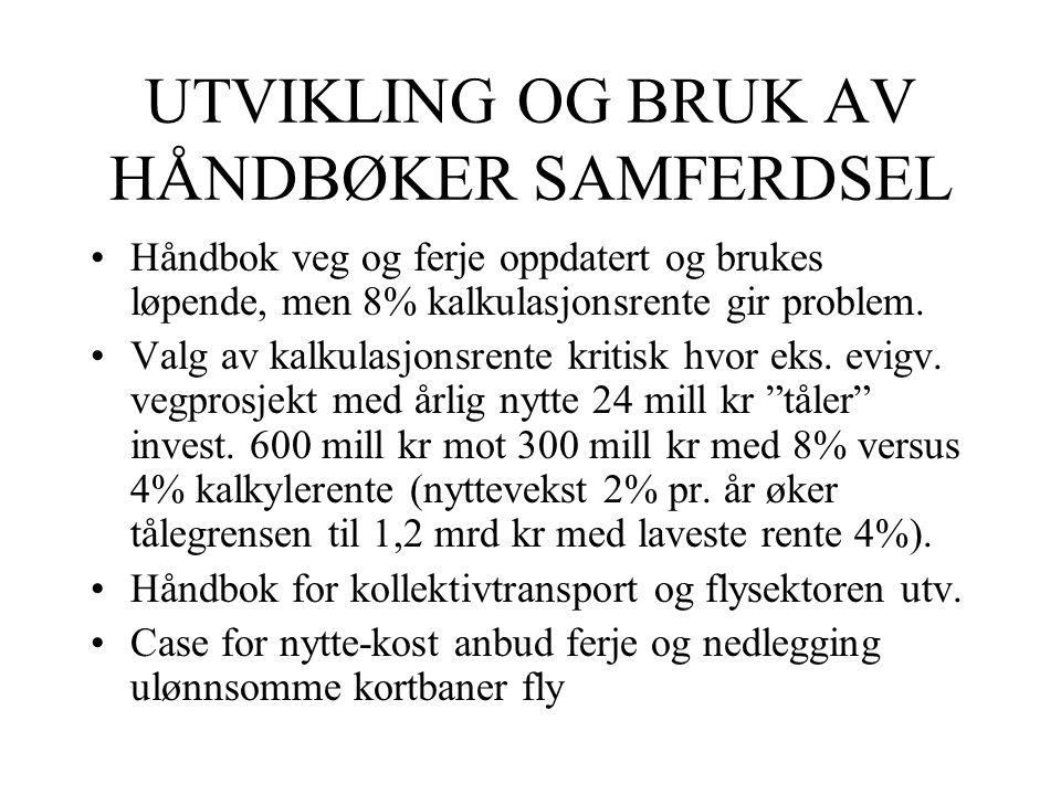 UTVIKLING OG BRUK AV HÅNDBØKER SAMFERDSEL