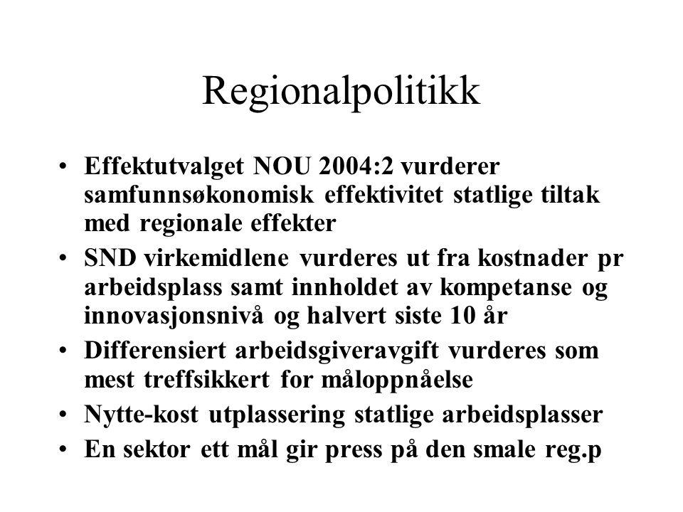 Regionalpolitikk Effektutvalget NOU 2004:2 vurderer samfunnsøkonomisk effektivitet statlige tiltak med regionale effekter.