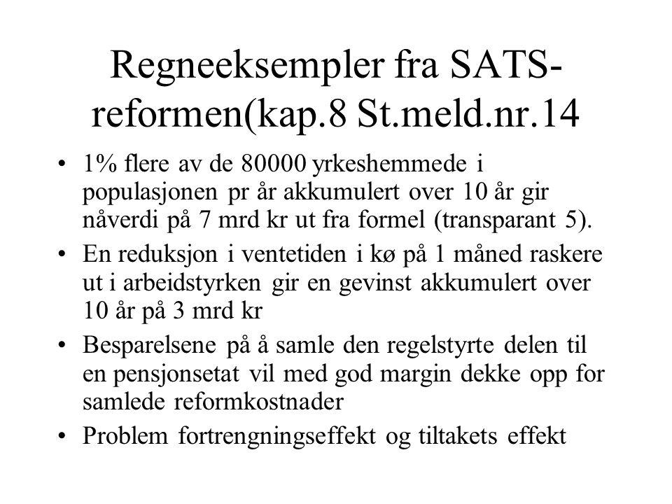 Regneeksempler fra SATS-reformen(kap.8 St.meld.nr.14