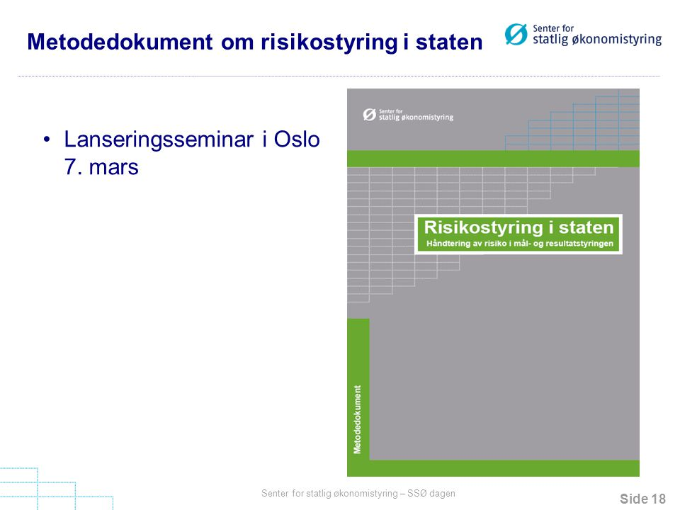 Metodedokument om risikostyring i staten