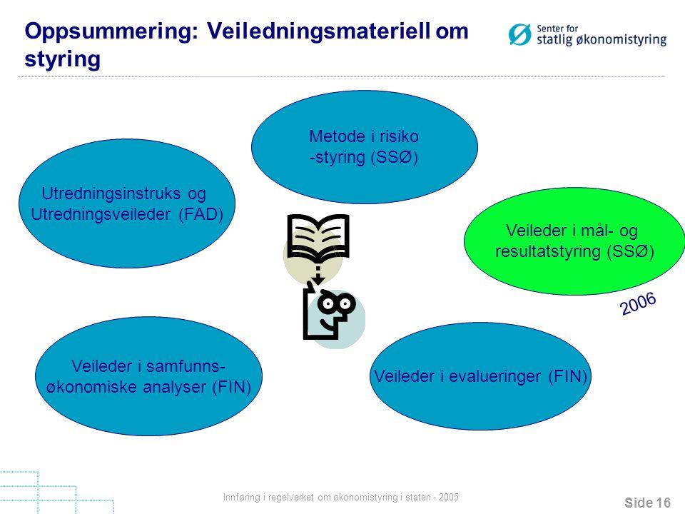 Oppsummering: Veiledningsmateriell om styring