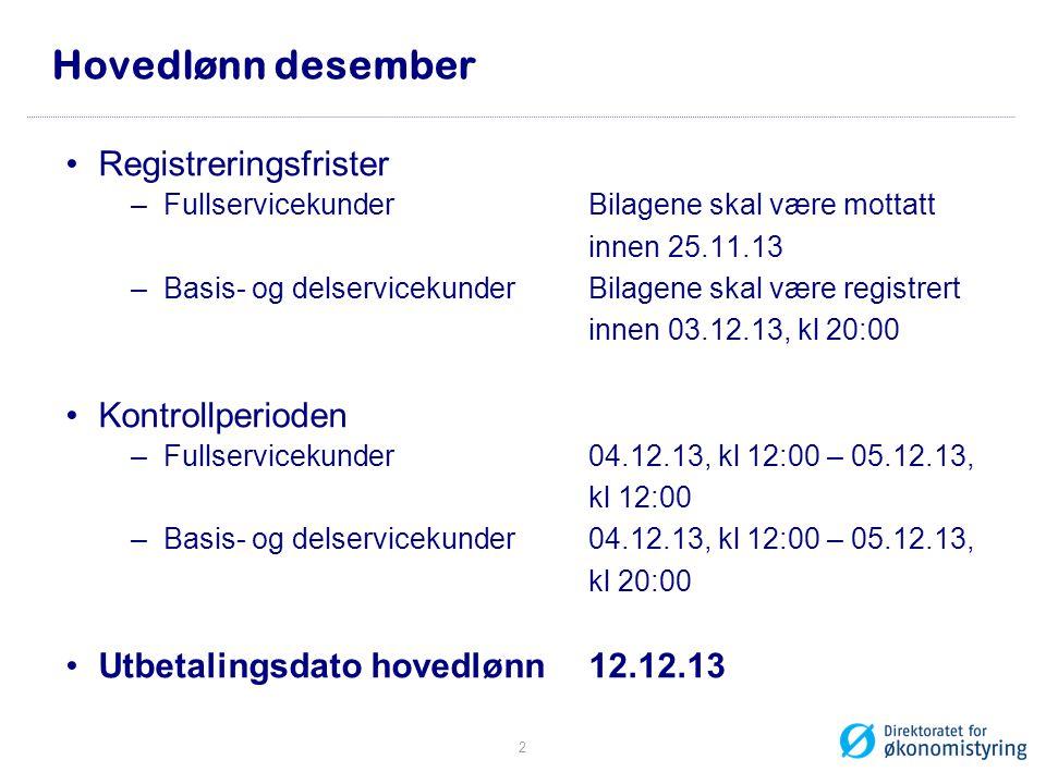 Hovedlønn desember Registreringsfrister Kontrollperioden