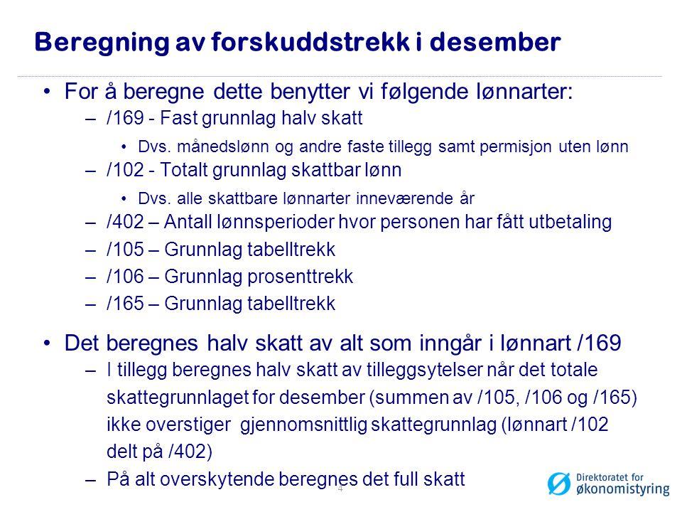 Beregning av forskuddstrekk i desember