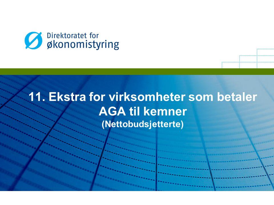 11. Ekstra for virksomheter som betaler AGA til kemner (Nettobudsjetterte)
