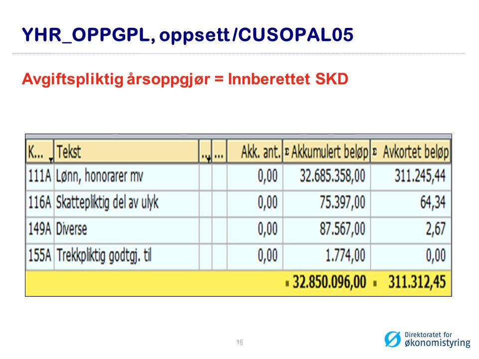 YHR_OPPGPL, oppsett /CUSOPAL05