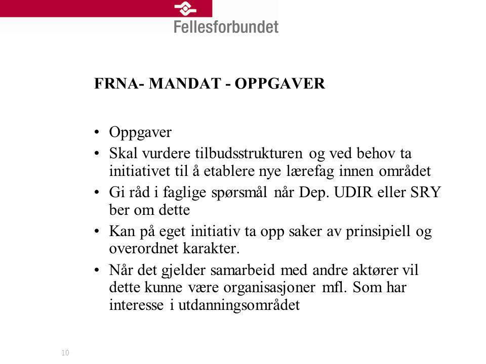 FRNA- MANDAT - OPPGAVER