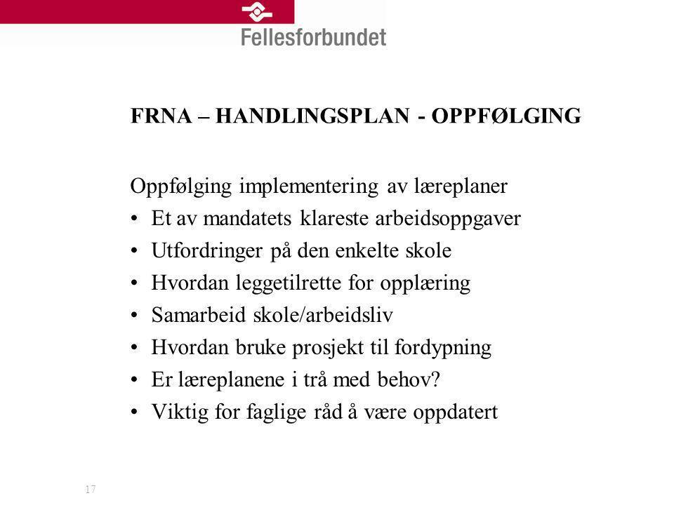 FRNA – HANDLINGSPLAN - OPPFØLGING