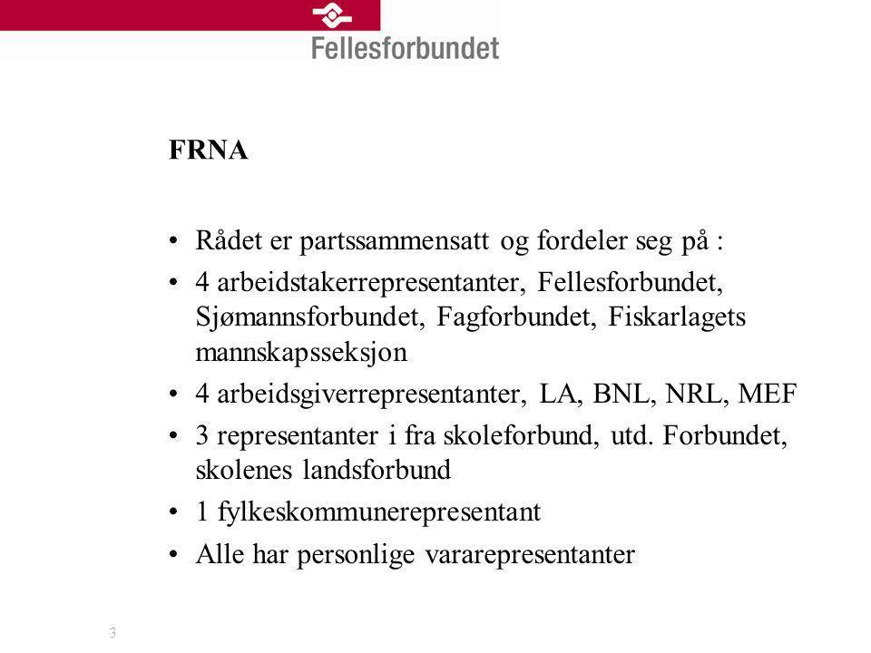 FRNA Rådet er partssammensatt og fordeler seg på :