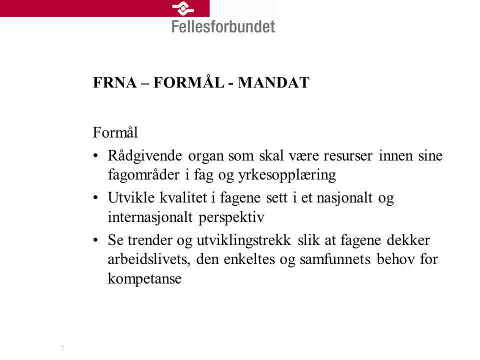 FRNA – FORMÅL - MANDAT Formål. Rådgivende organ som skal være resurser innen sine fagområder i fag og yrkesopplæring.