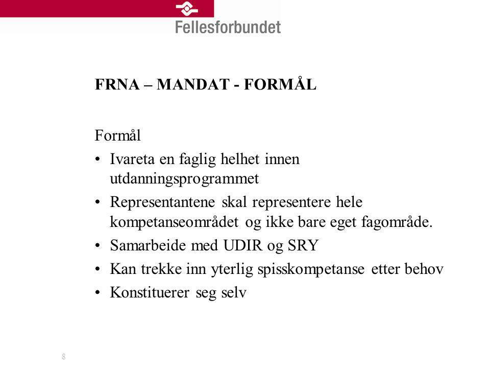 FRNA – MANDAT - FORMÅL Formål. Ivareta en faglig helhet innen utdanningsprogrammet.