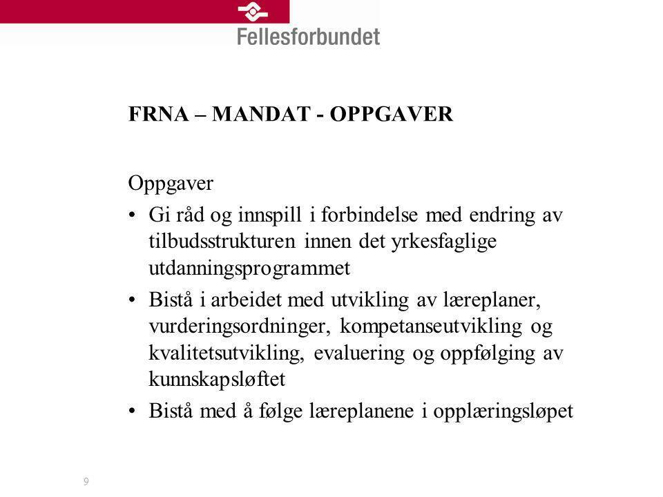 FRNA – MANDAT - OPPGAVER