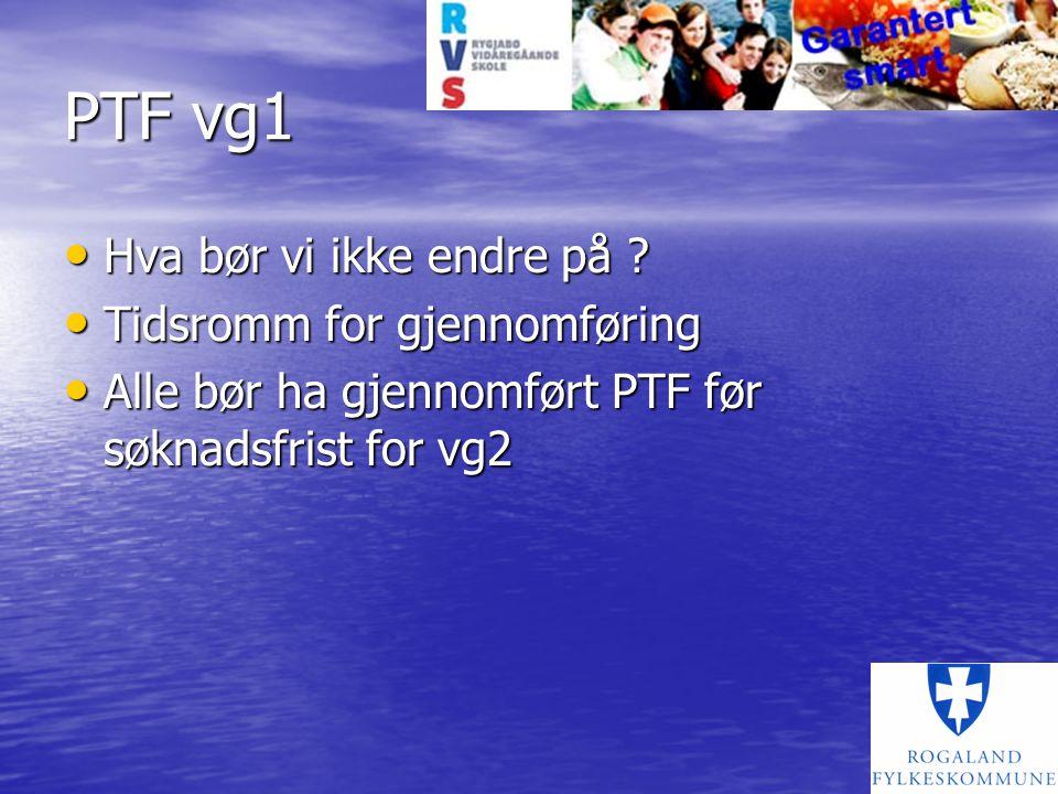PTF vg1 Hva bør vi ikke endre på Tidsromm for gjennomføring