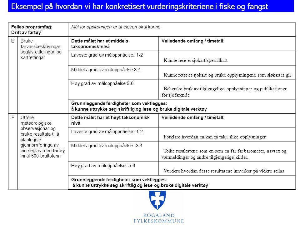 Eksempel på hvordan vi har konkretisert vurderingskriteriene i fiske og fangst
