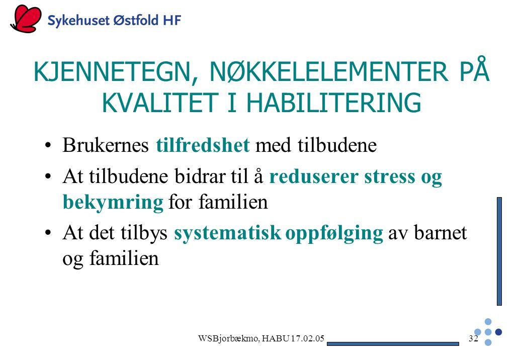 KJENNETEGN, NØKKELELEMENTER PÅ KVALITET I HABILITERING