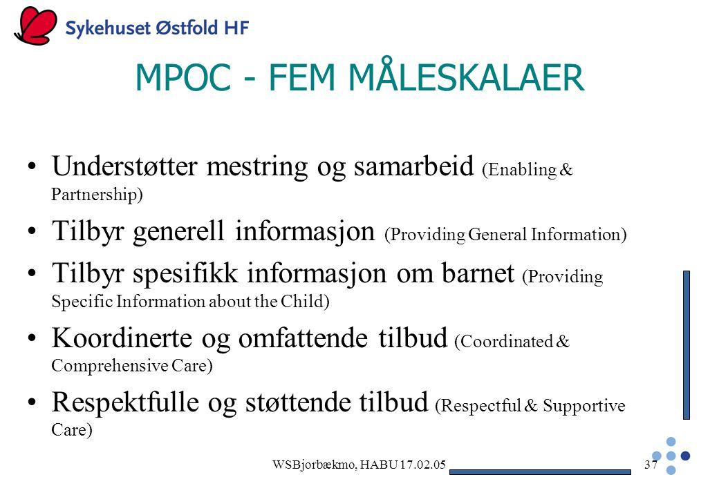 MPOC - FEM MÅLESKALAER Understøtter mestring og samarbeid (Enabling & Partnership) Tilbyr generell informasjon (Providing General Information)
