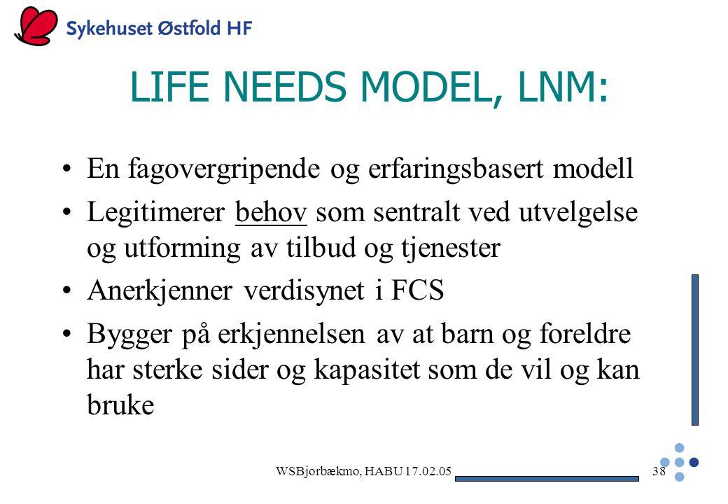 LIFE NEEDS MODEL, LNM: En fagovergripende og erfaringsbasert modell