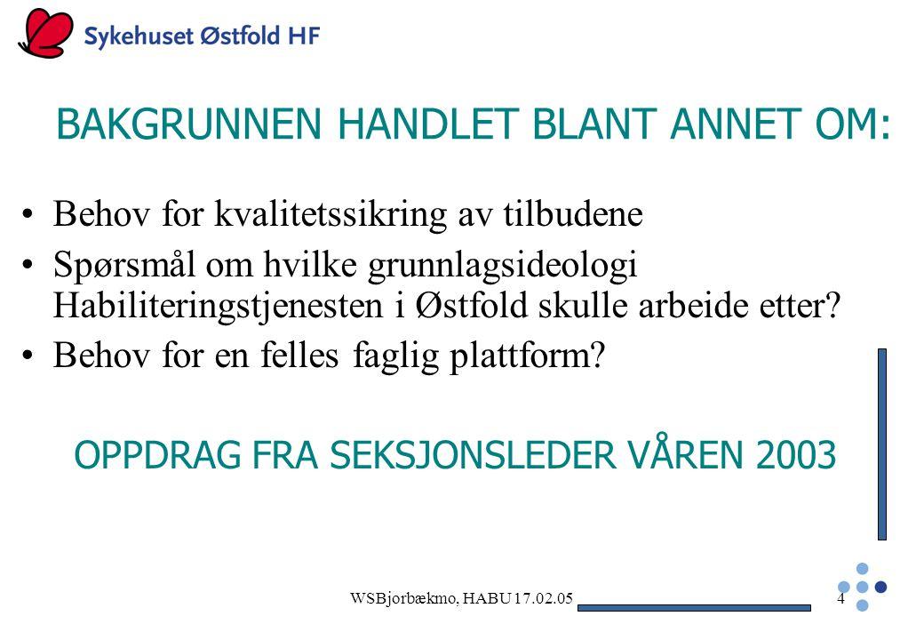 BAKGRUNNEN HANDLET BLANT ANNET OM: