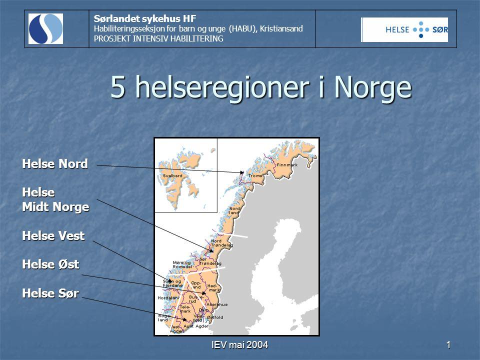5 helseregioner i Norge Helse Nord Helse Midt Norge Helse Vest