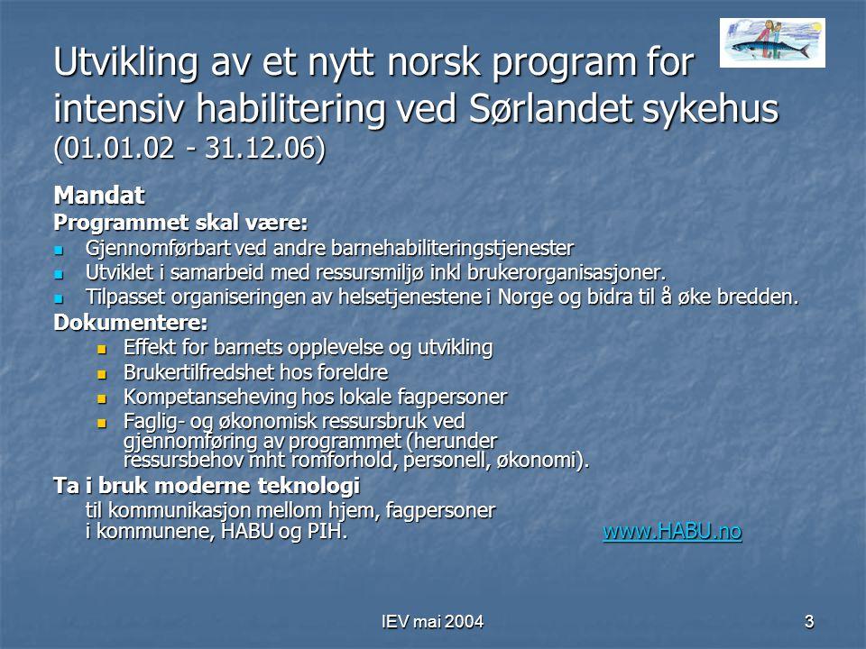 Utvikling av et nytt norsk program for intensiv habilitering ved Sørlandet sykehus (01.01.02 - 31.12.06)