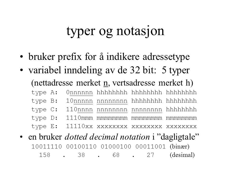 typer og notasjon bruker prefix for å indikere adressetype