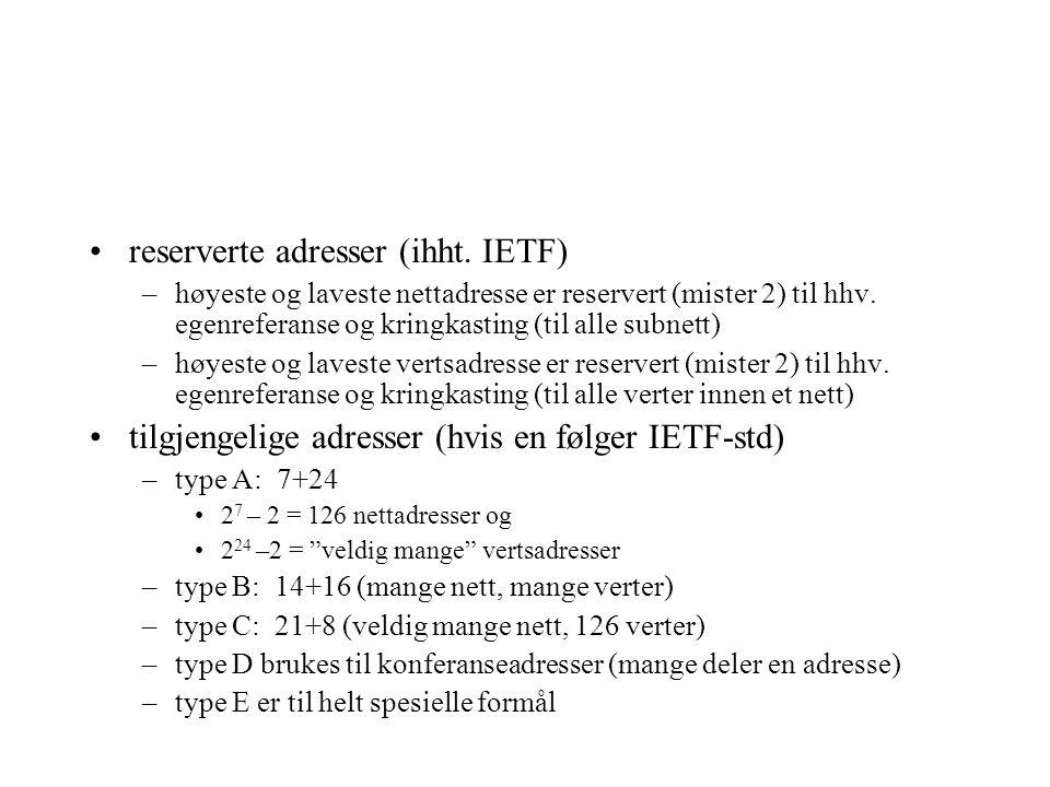 reserverte adresser (ihht. IETF)