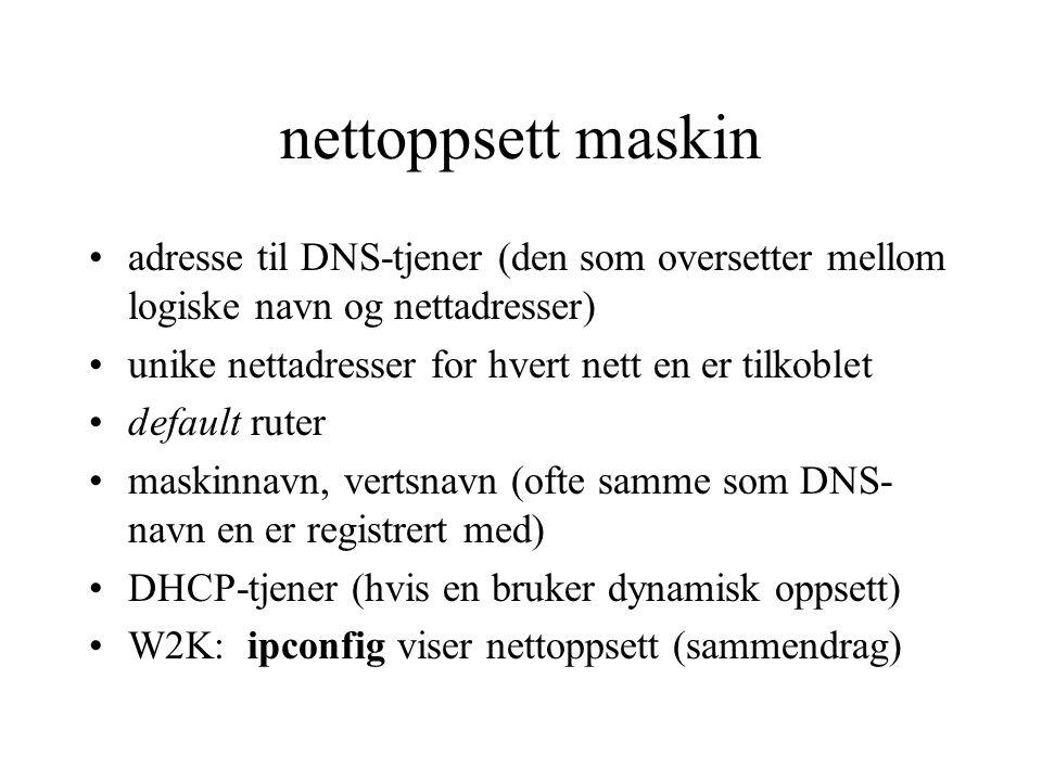 nettoppsett maskin adresse til DNS-tjener (den som oversetter mellom logiske navn og nettadresser) unike nettadresser for hvert nett en er tilkoblet.