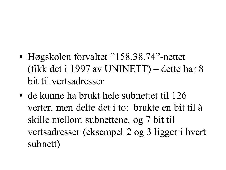 Høgskolen forvaltet 158.38.74 -nettet (fikk det i 1997 av UNINETT) – dette har 8 bit til vertsadresser