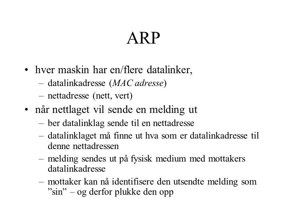 ARP hver maskin har en/flere datalinker,