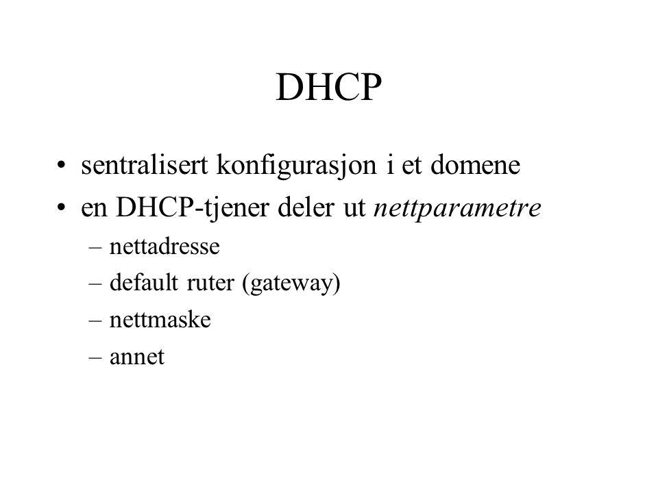 DHCP sentralisert konfigurasjon i et domene
