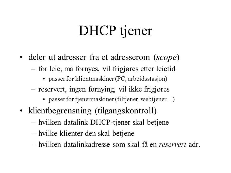 DHCP tjener deler ut adresser fra et adresserom (scope)