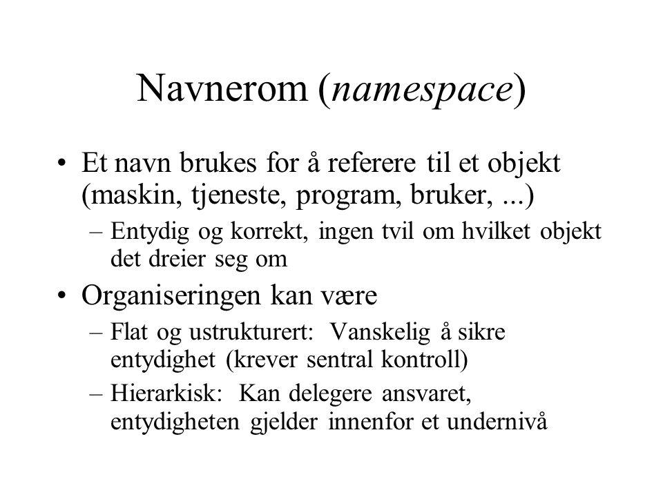 Navnerom (namespace) Et navn brukes for å referere til et objekt (maskin, tjeneste, program, bruker, ...)