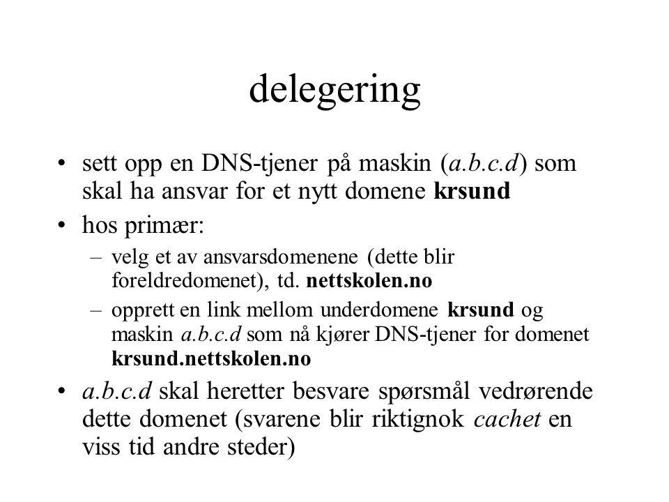 delegering sett opp en DNS-tjener på maskin (a.b.c.d) som skal ha ansvar for et nytt domene krsund.