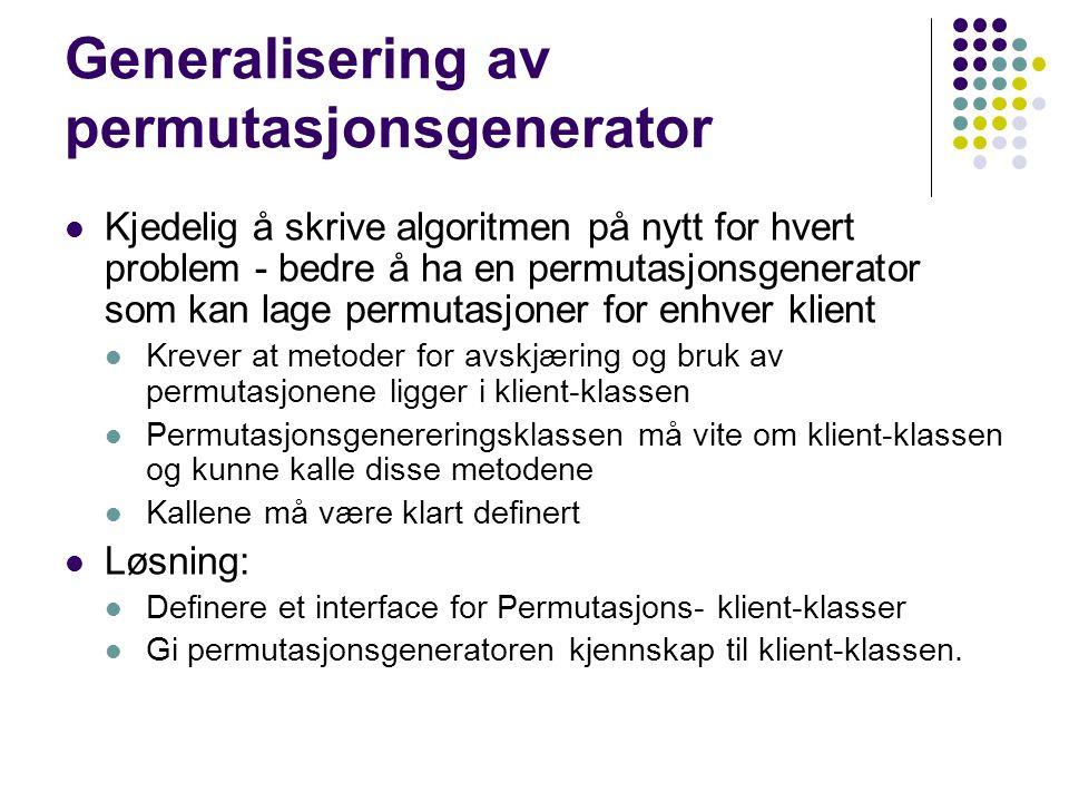 Generalisering av permutasjonsgenerator