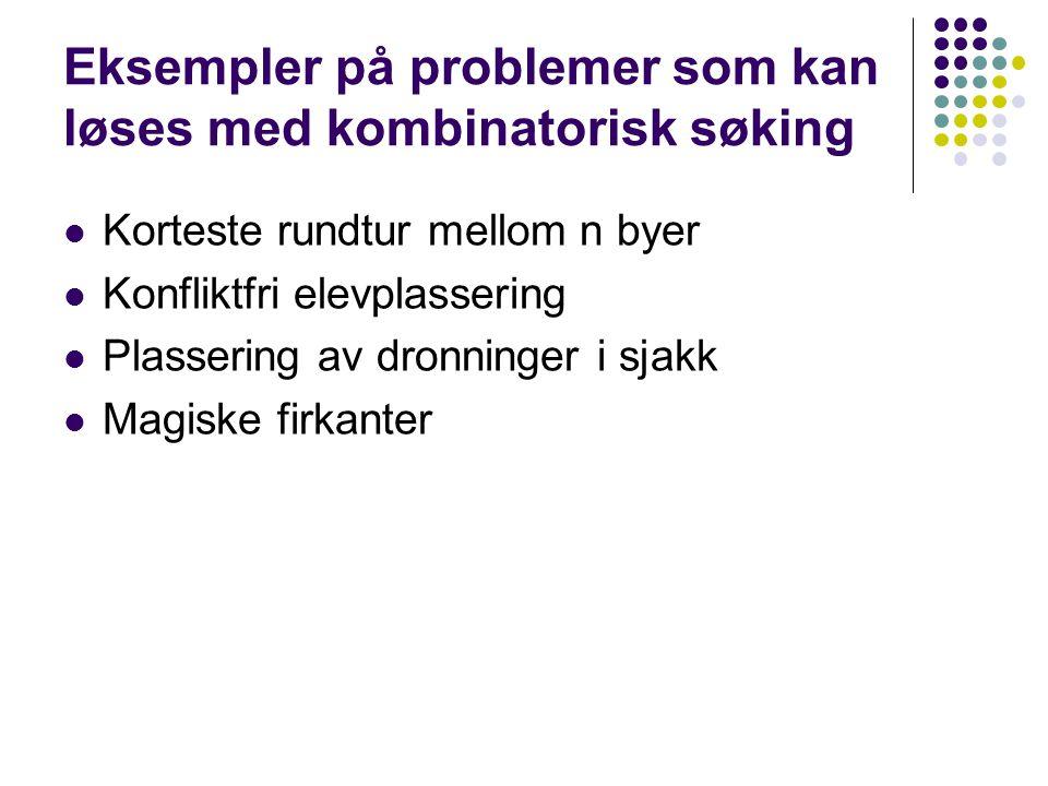 Eksempler på problemer som kan løses med kombinatorisk søking