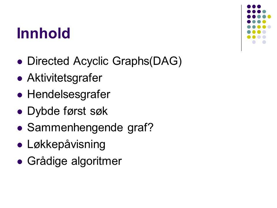 Innhold Directed Acyclic Graphs(DAG) Aktivitetsgrafer Hendelsesgrafer