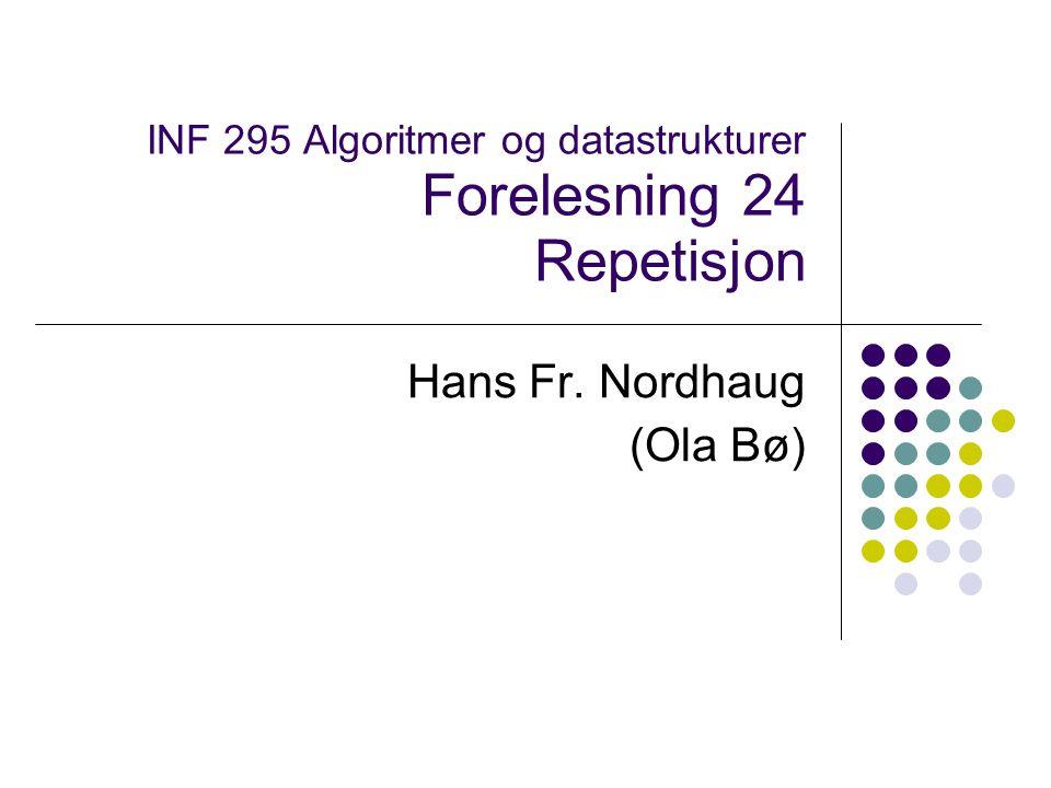 INF 295 Algoritmer og datastrukturer Forelesning 24 Repetisjon