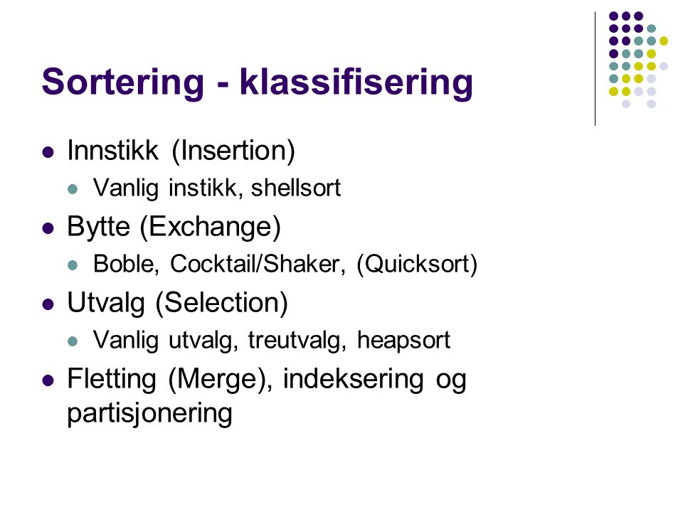 Sortering - klassifisering