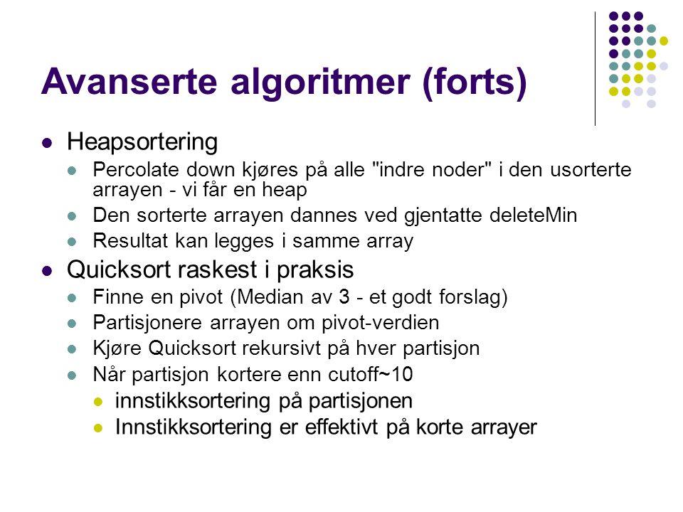 Avanserte algoritmer (forts)