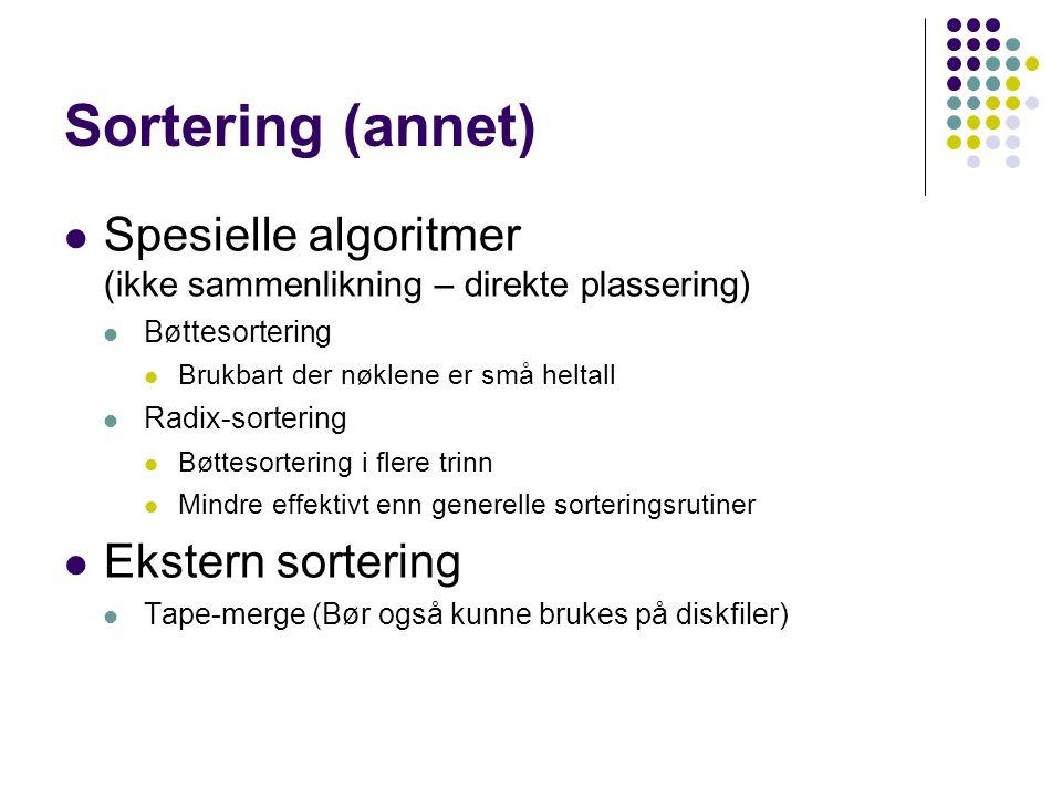 Sortering (annet) Spesielle algoritmer (ikke sammenlikning – direkte plassering) Bøttesortering.