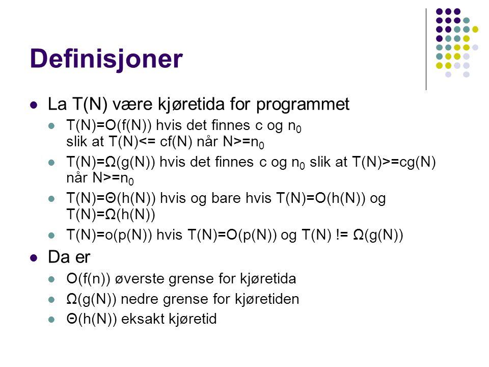 Definisjoner La T(N) være kjøretida for programmet Da er