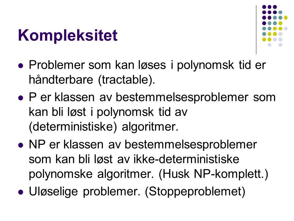 Kompleksitet Problemer som kan løses i polynomsk tid er håndterbare (tractable).