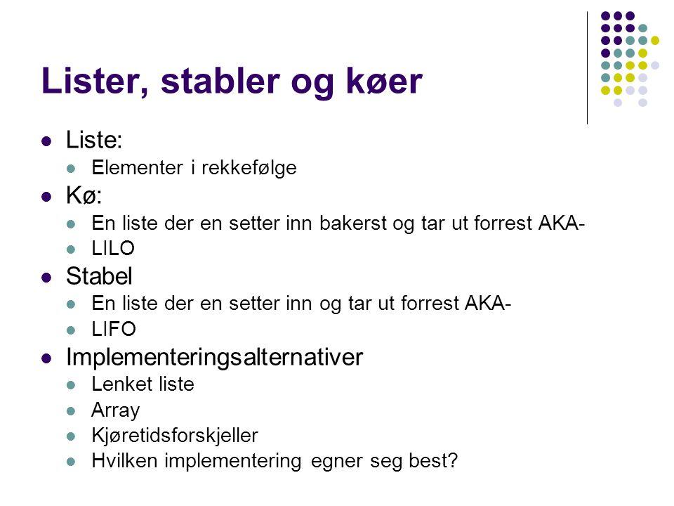 Lister, stabler og køer Liste: Kø: Stabel Implementeringsalternativer